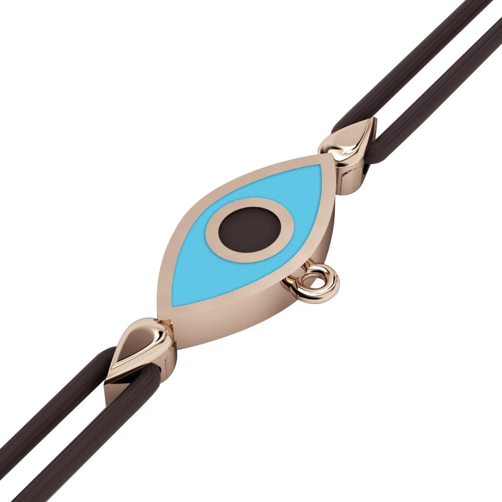 Navette Evil Eye Macrame Charm Bracelet, made of 925 sterling silver / 18k rose gold  finish with black and turquoise enamel – black cord