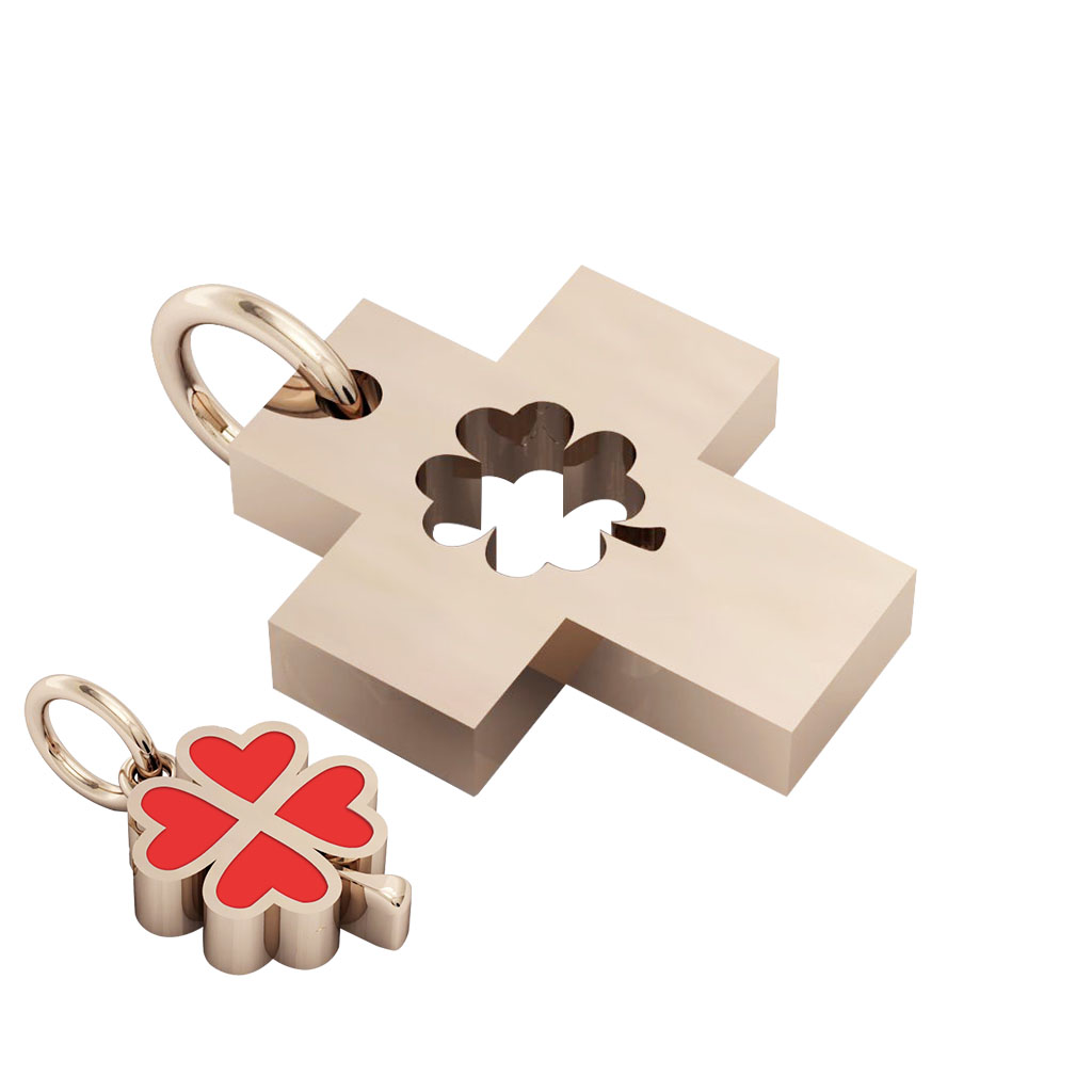 little cross with quatrefoil, cobo pendant, made of 925 sterling silver with red enamel / 33