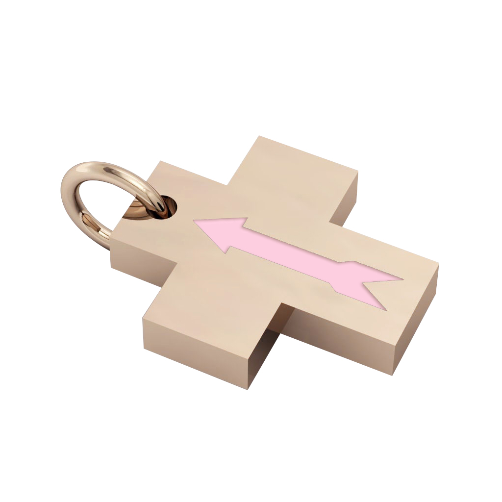 Little Cross with an internal enamel Arrow, made of 925 sterling silver / 18k rose gld finish with pink enamel