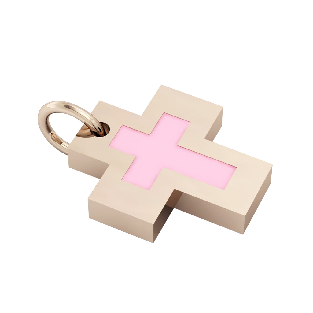 Little Cross with an internal enamel Cross, made of 925 sterling silver / 18k rose gld finish with pink enamel