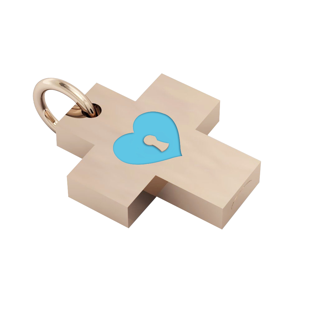 Little Cross with an internal enamel Heart Padlock, made of 925 sterling silver / 18k rose gld finish with turquoise enamel