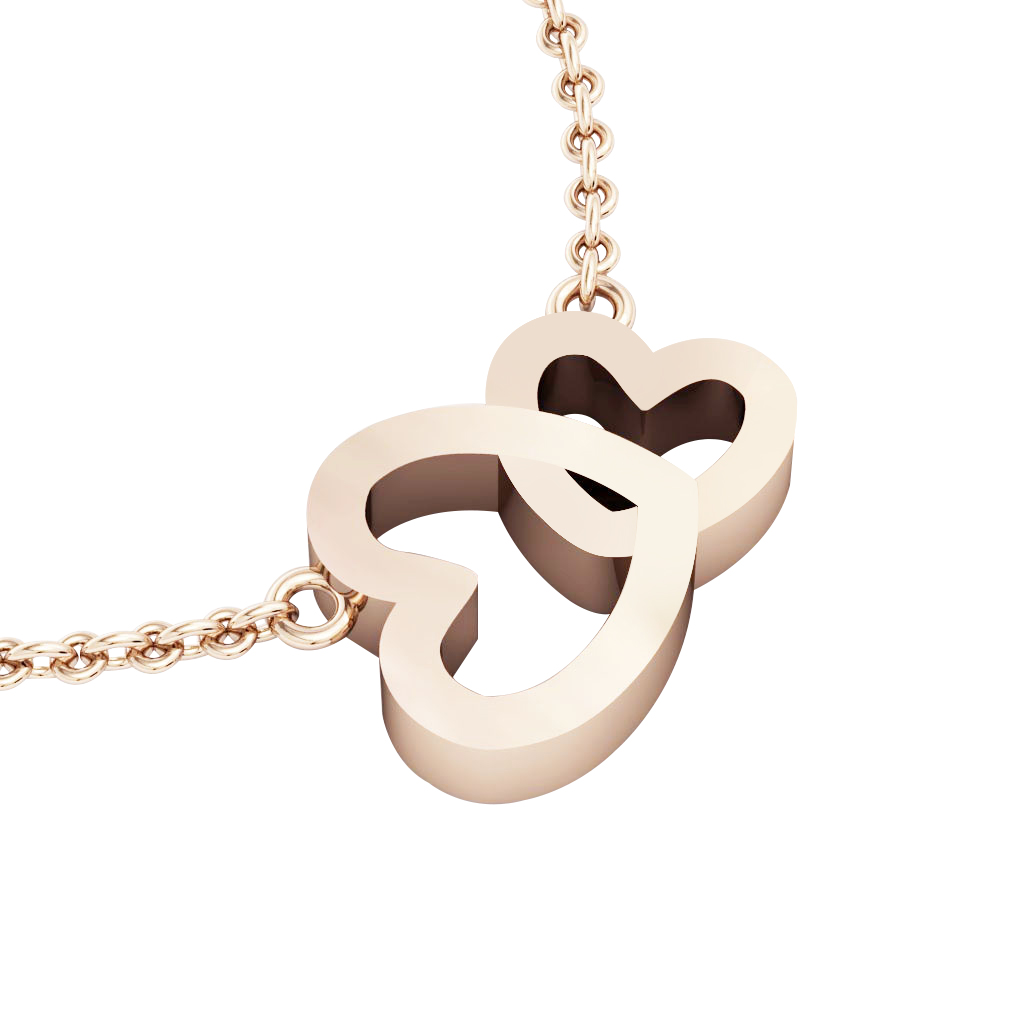 Double Heart Necklace, made of 925 sterling silver / 18k rose gold finish