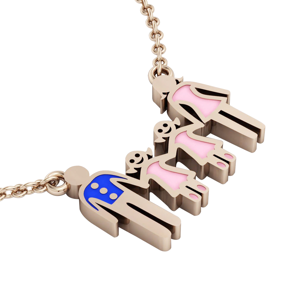 4-members Family necklace, father – 2 daughters – mother, made of 925 sterling silver / 18k rose gold finish with blue and pink enamel