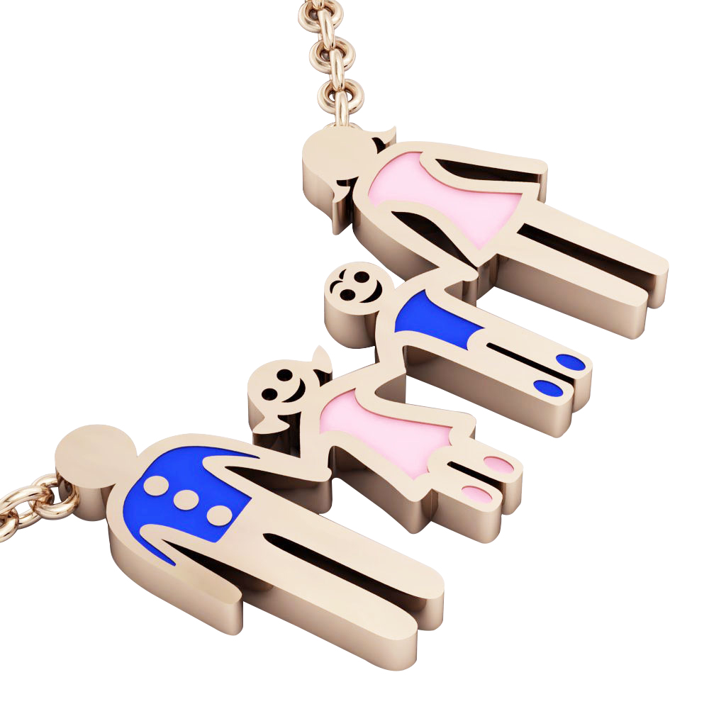 4-members Family necklace, father - daughter - son – mother, made of 925 sterling silver / 18k rose gold finish with blue and pink enamel