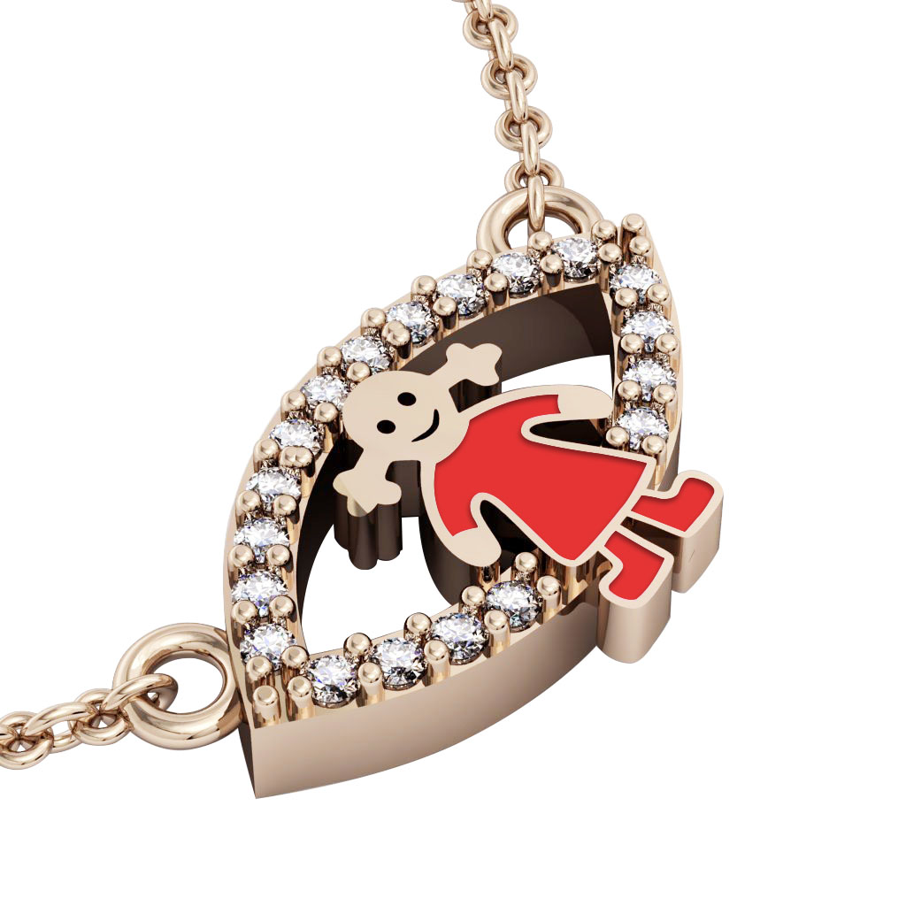 Girl Evil Eye Necklace, made of 925 sterling silver / 18k rose gold finish with red enamel and white zircon