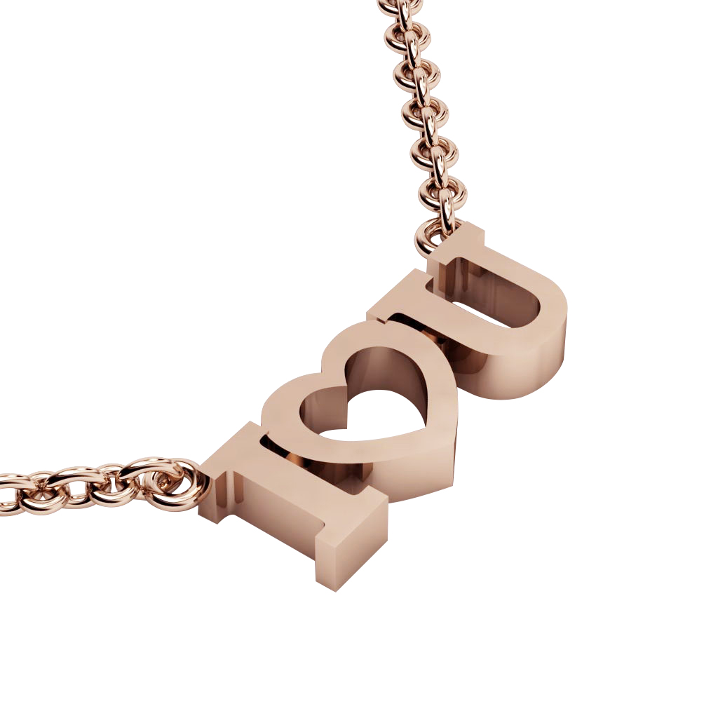 I love you Necklace, made of 925 sterling silver / 18k rose gold finish