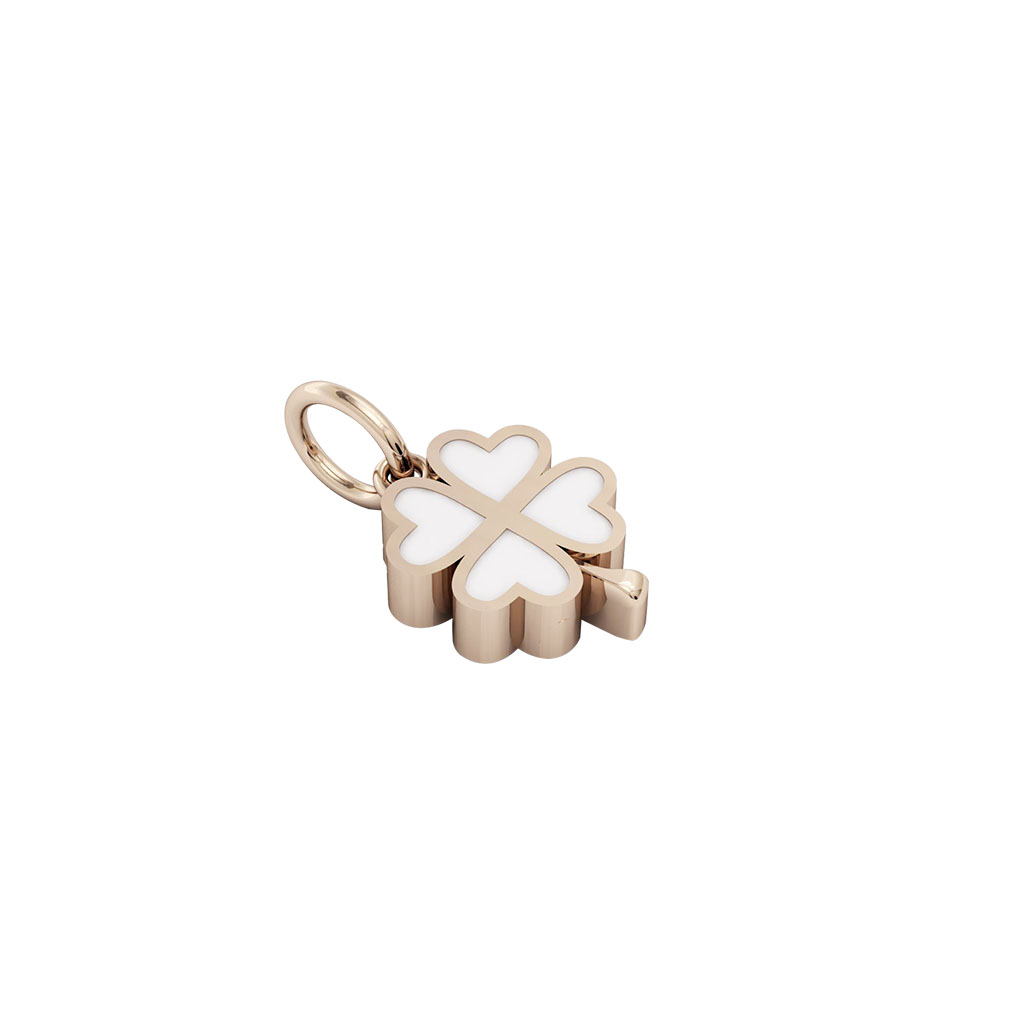 Cross with small quatrefoil quatrefoil pendant made of 925 quatrefoil pendant made of 925 sterling silver 18k rose gold finish with white enamel aloadofball Choice Image
