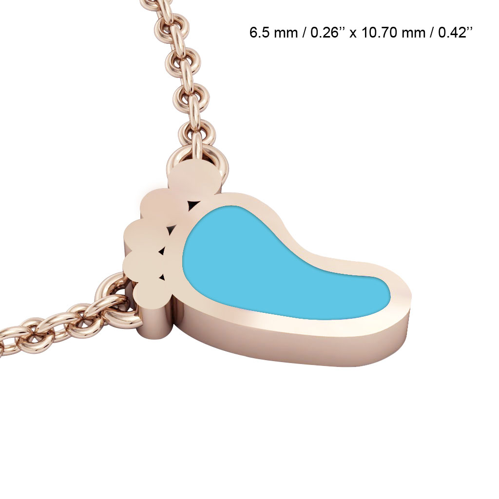 baby foot necklace, made of 925 sterling silver / 18k rose gold with turquoise enamel