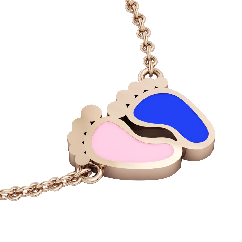 baby feet necklace, made of 925 sterling silver / 18k rose gold with pink and blue enamel
