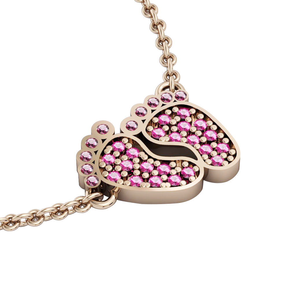 baby feet necklace, made of 925 sterling silver / 18k rose gold finish with pink zircon