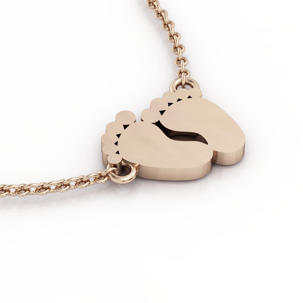 baby feet necklace, made of 925 sterling silver / 18k rose gold finish