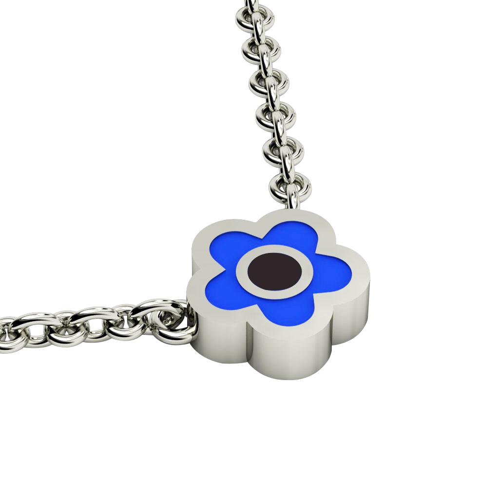 Daisy Evil Eye Necklace, made of 925 sterling silver / 18k white gold finish with black & blue enamel
