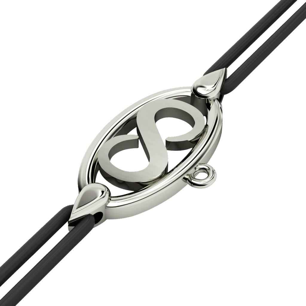 Infinity Macrame Charm Bracelet,, made of 925 sterling silver / 18k white gold finish – black cord
