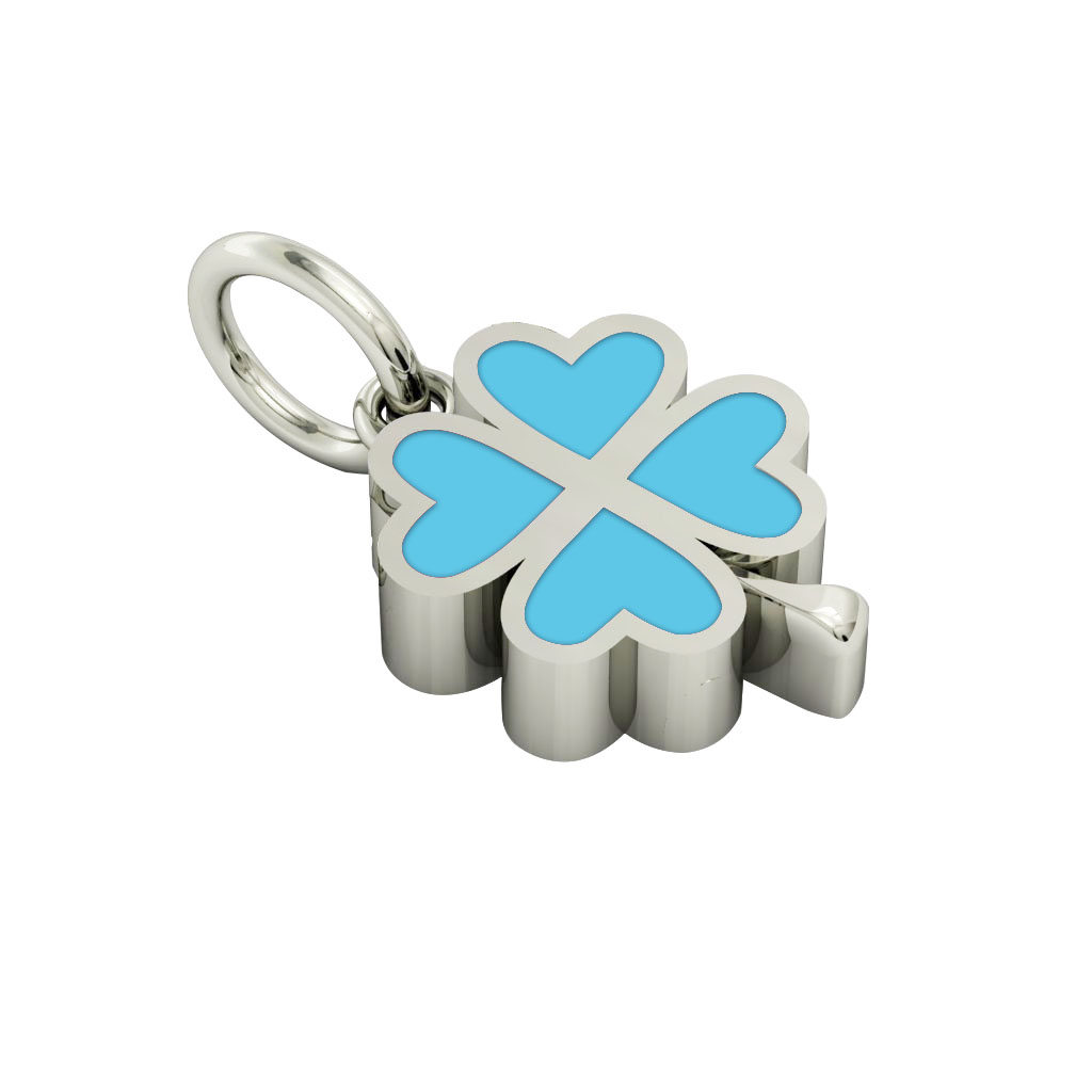 Big Quatrefoil Pendant, made of 925 sterling silver / 18k white gold finish with turquoise enamel