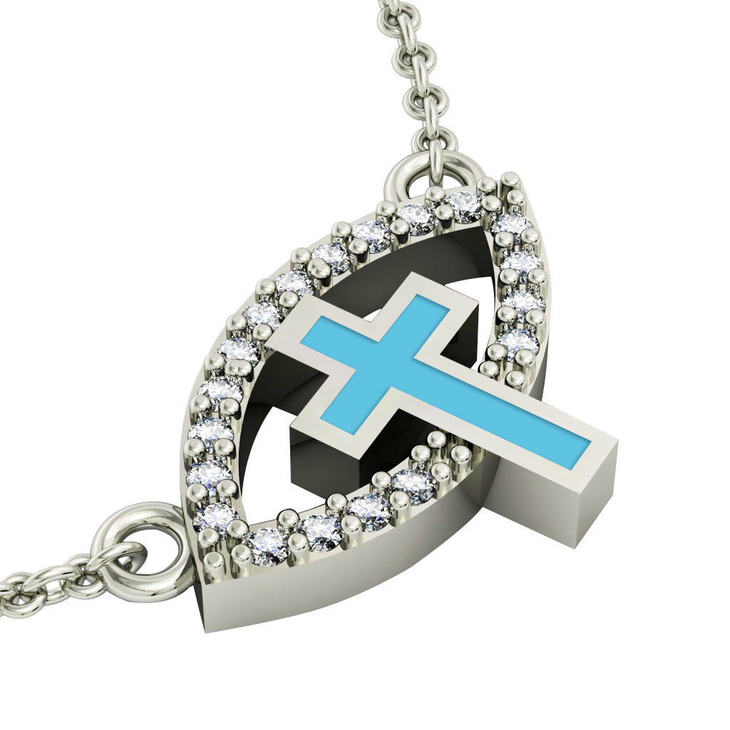 Cross Evil Eye Necklace, made of 925 sterling silver / 18k white gold finish with turquoise enamel and white zircon