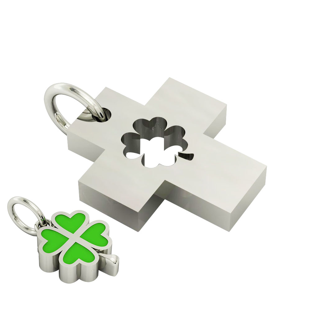 little cross with quatrefoil, cobo pendant, made of 925 sterling silver with green enamel / 22