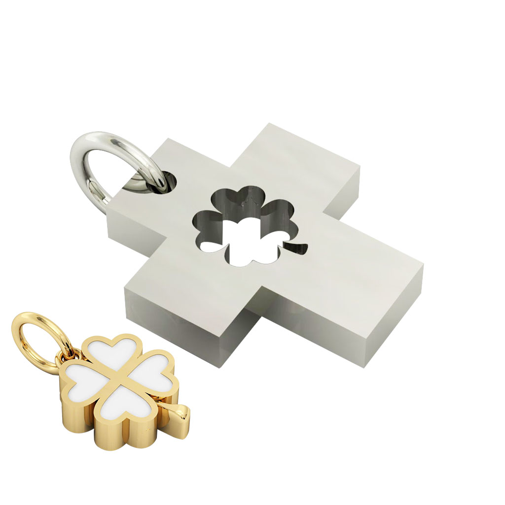 little cross with quatrefoil, cobo pendant, made of 925 sterling silver with white enamel / 21