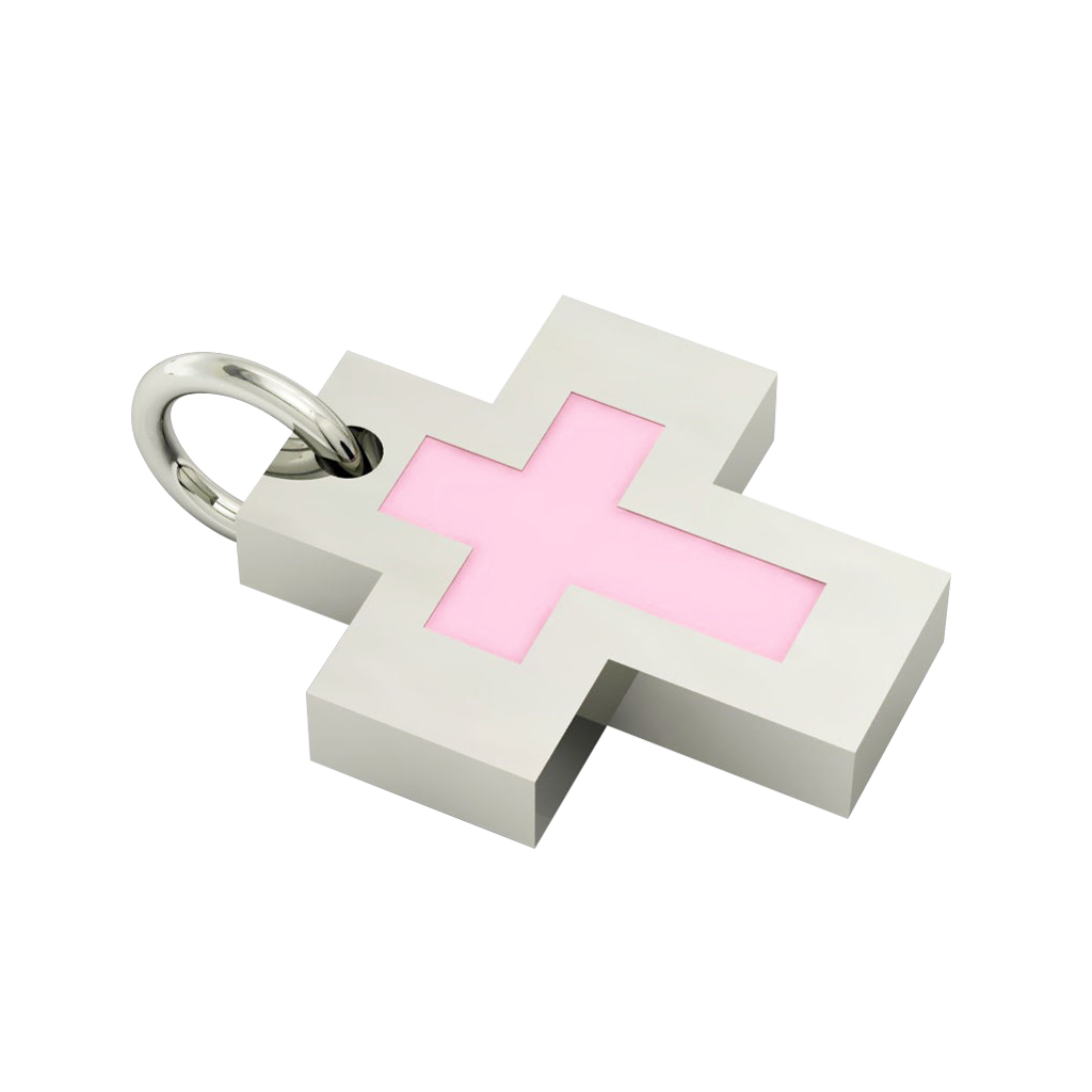 Little Cross with an internal enamel Cross, made of 925 sterling silver / 18k white gold finish with pink enamel