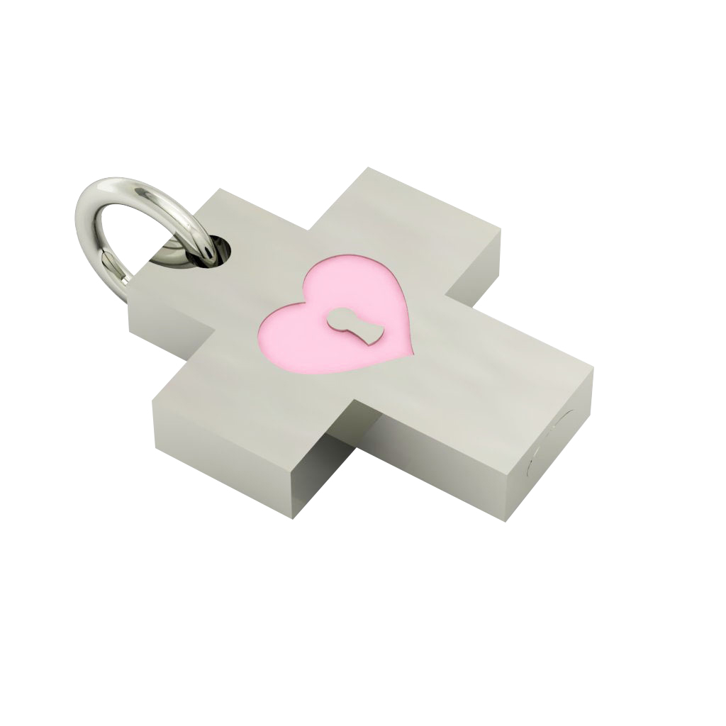 Little Cross with an internal enamel Heart Padlock, made of 925 sterling silver / 18k white gold finish with pink enamel
