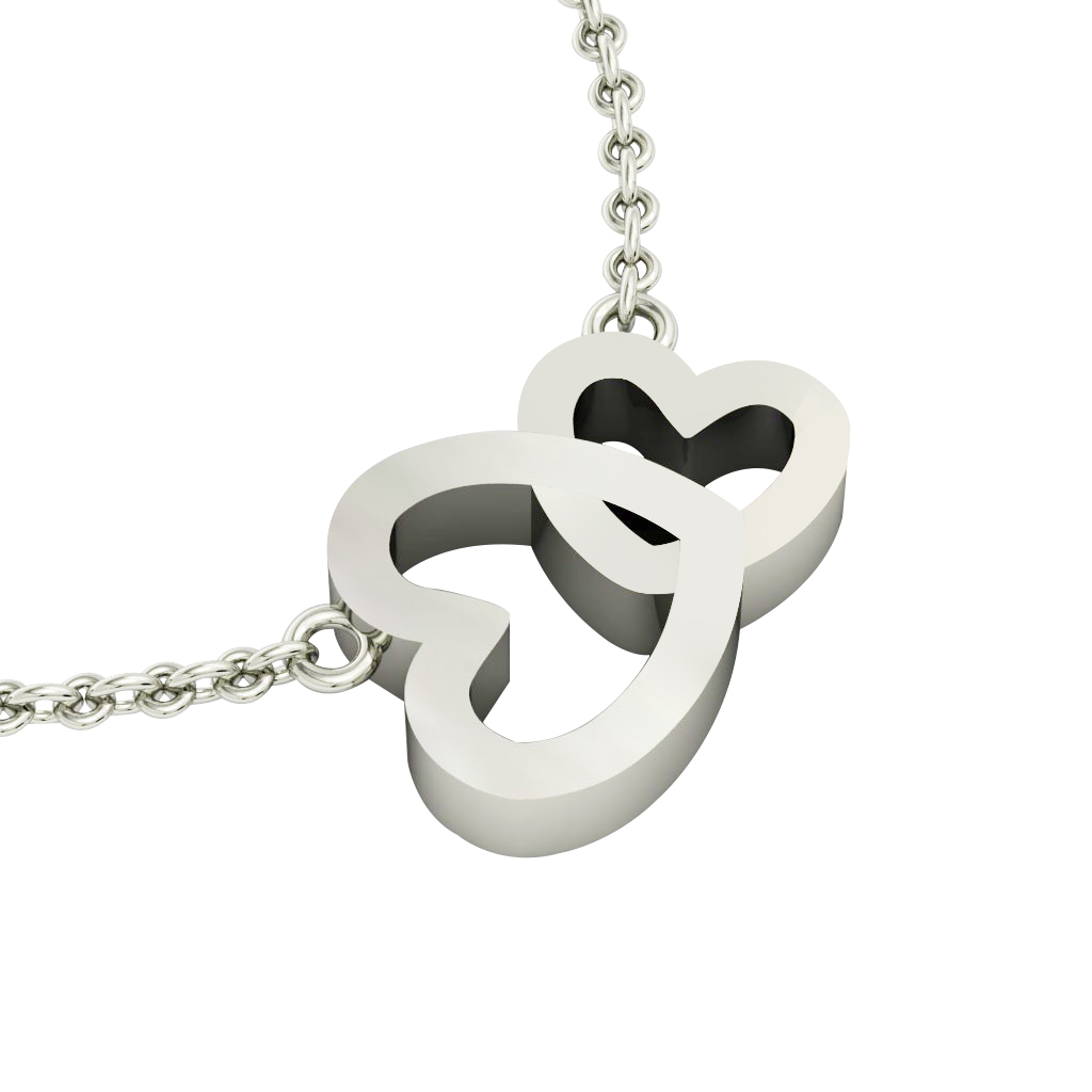 Double Heart Necklace, made of 925 sterling silver / 18k white gold finish
