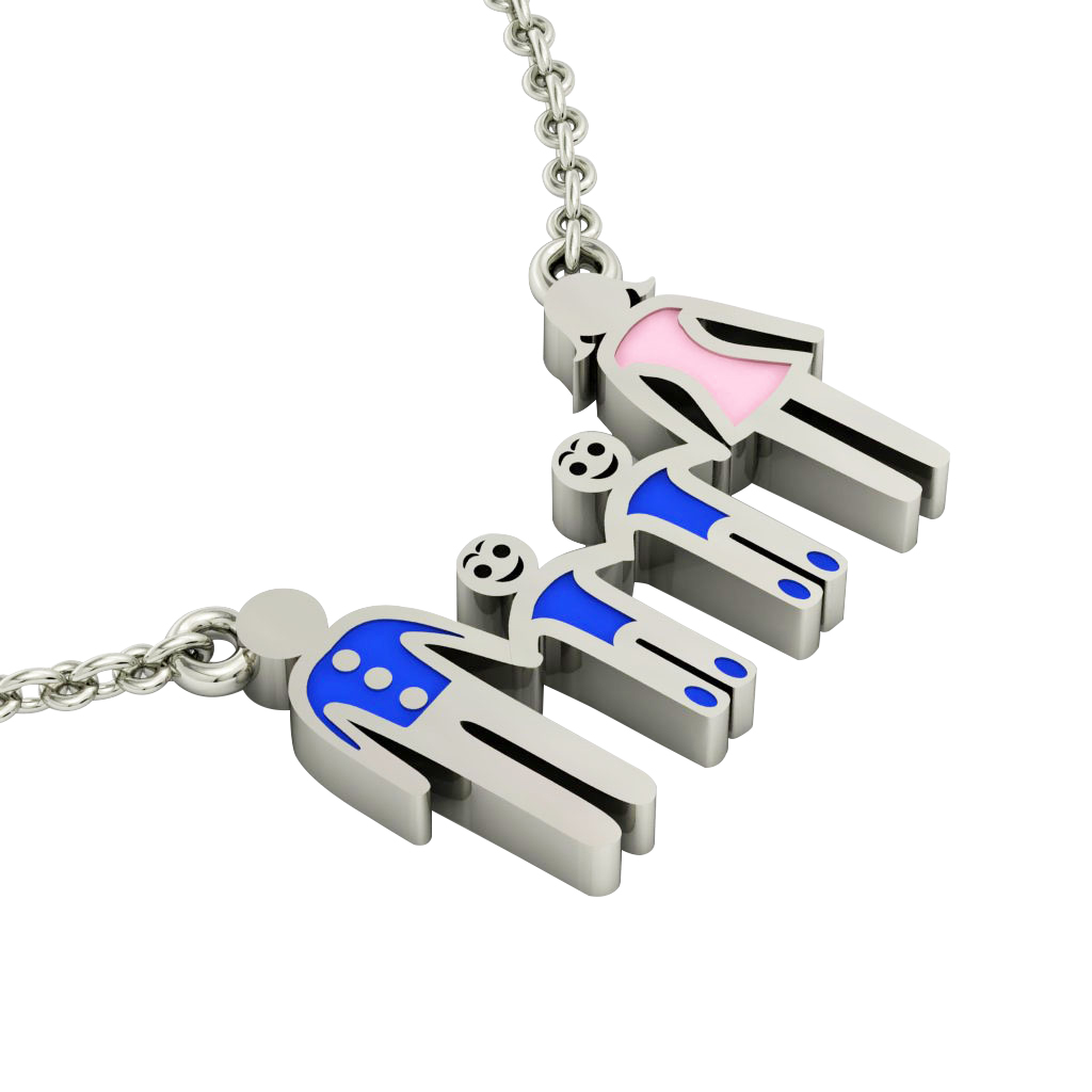 4-members Family necklace, father - 2 sons – mother, made of 925 sterling silver / 18k white gold finish with blue and pink enamel