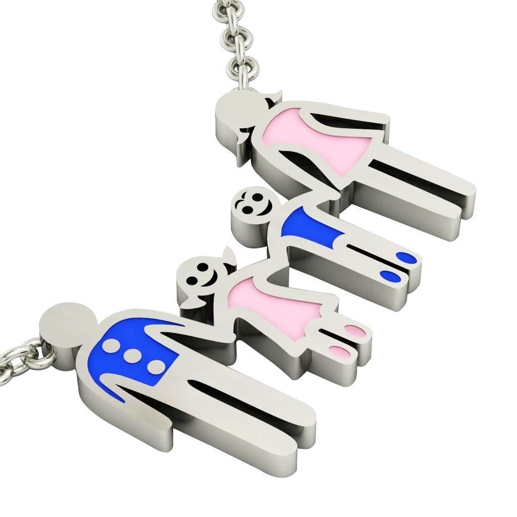 4-members Family necklace, father - daughter - son – mother, made of 925 sterling silver / 18k white gold finish with blue and pink enamel