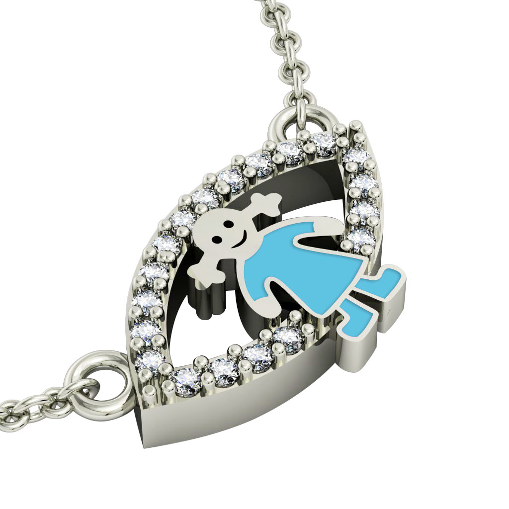 Girl Evil Eye Necklace, made of 925 sterling silver / 18k white gold finish with turquoise enamel and white zircon