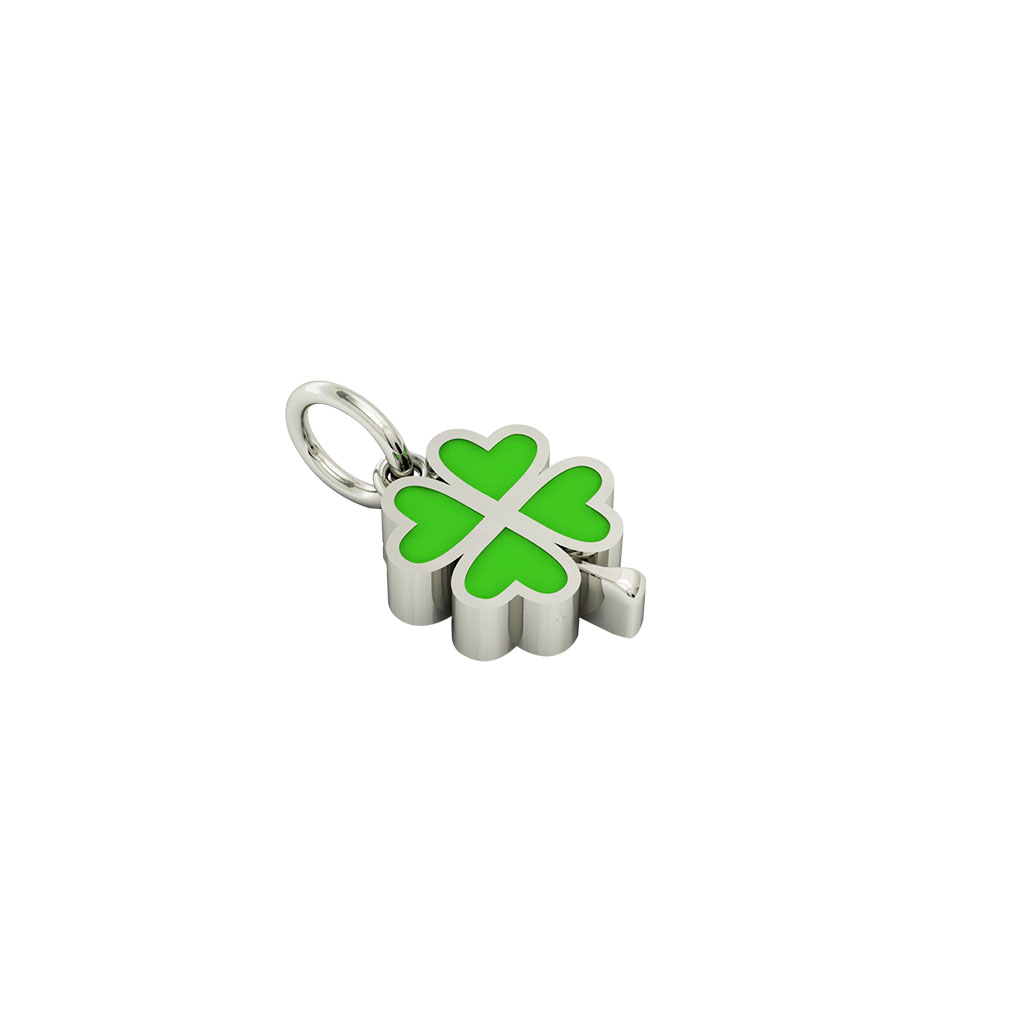 quatrefoil pendant, made of 925 sterling silver / 18k white gold finish with green enamel