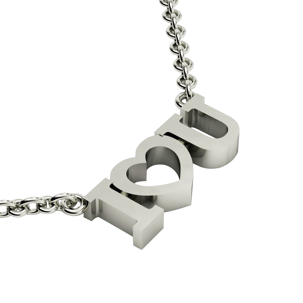 I love you Necklace, made of 925 sterling silver / 18k white gold finish
