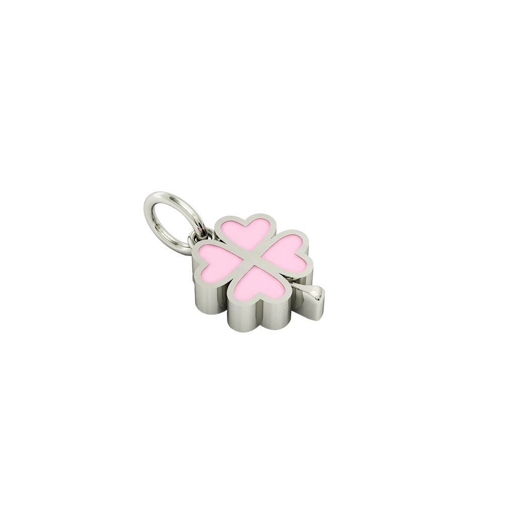 quatrefoil pendant, made of 925 sterling silver / 18k white gold finish with pink enamel