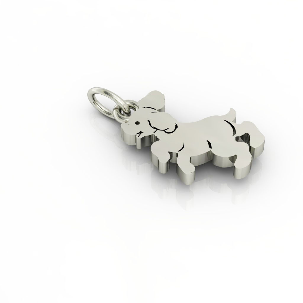 Little Dog 1 pendant, made of 925 sterling silver / 18k white gold finish
