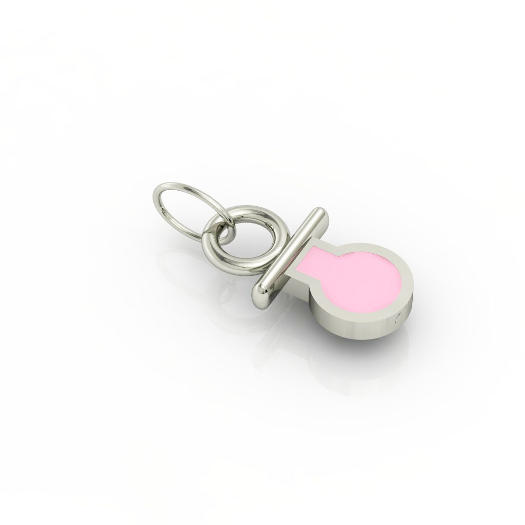 small pacifier pendant, made of 925 sterling silver / 18k white gold finish with pink enamel