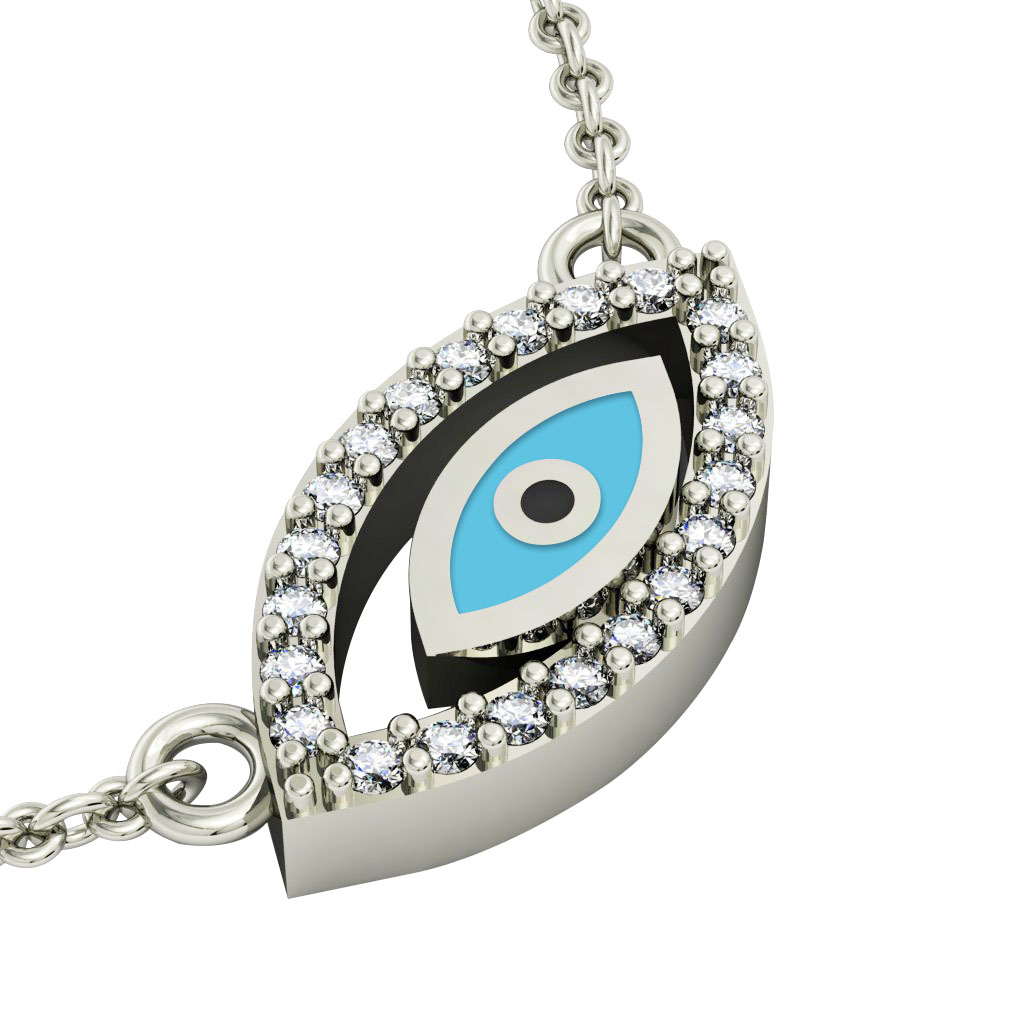 Twin Evil Eye Necklace, made of 925 sterling silver / 18k white gold finish with turquoise enamel and white zircon