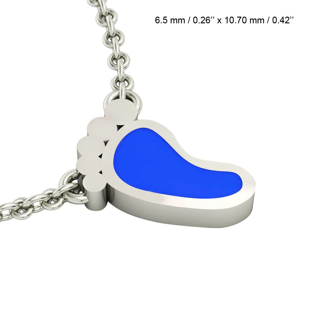 baby foot necklace, made of 925 sterling silver / 18k white gold with blue enamel