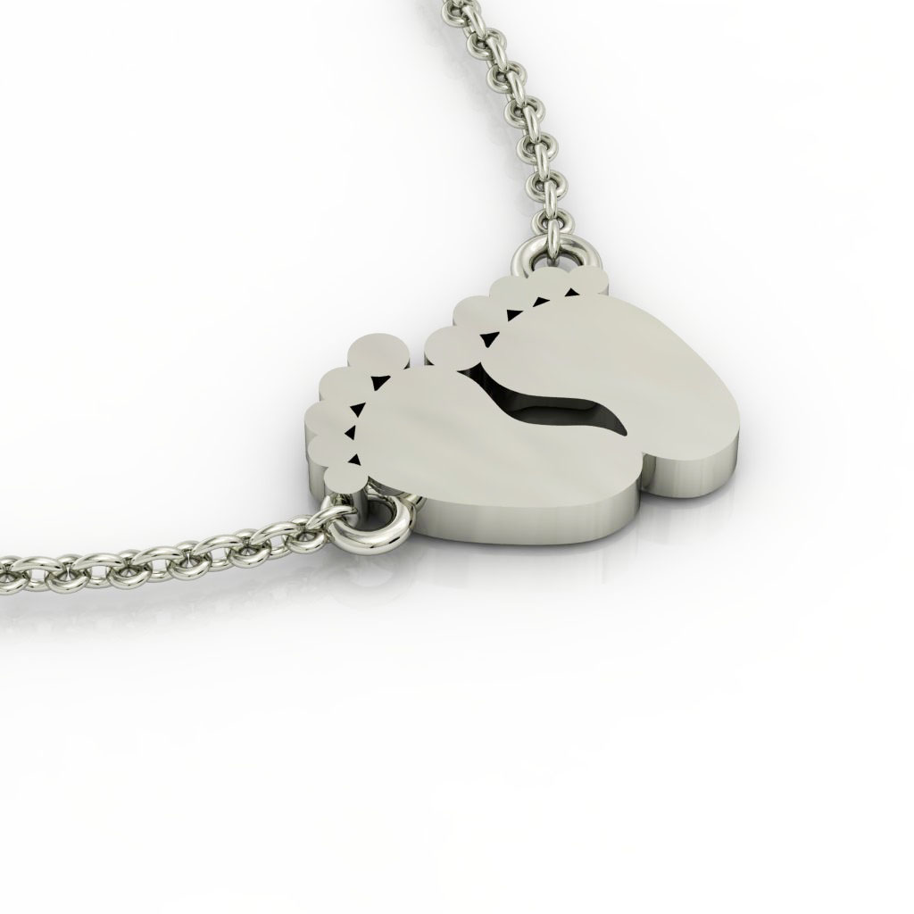 baby feet necklace, made of 925 sterling silver / 18k white gold finish