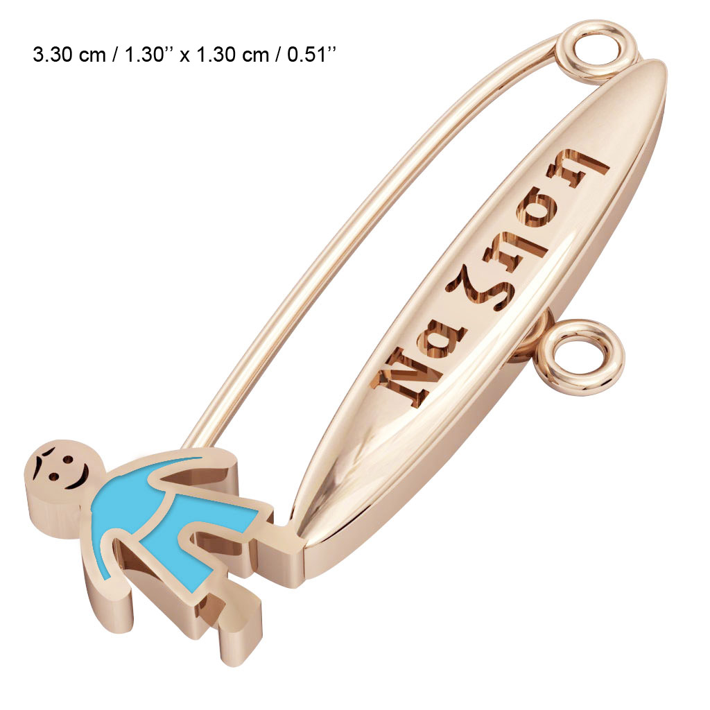 baby safety pin, boy – να ζηση, made of 18k rose gold vermeil on 925 sterling silver with turquoise  enamel