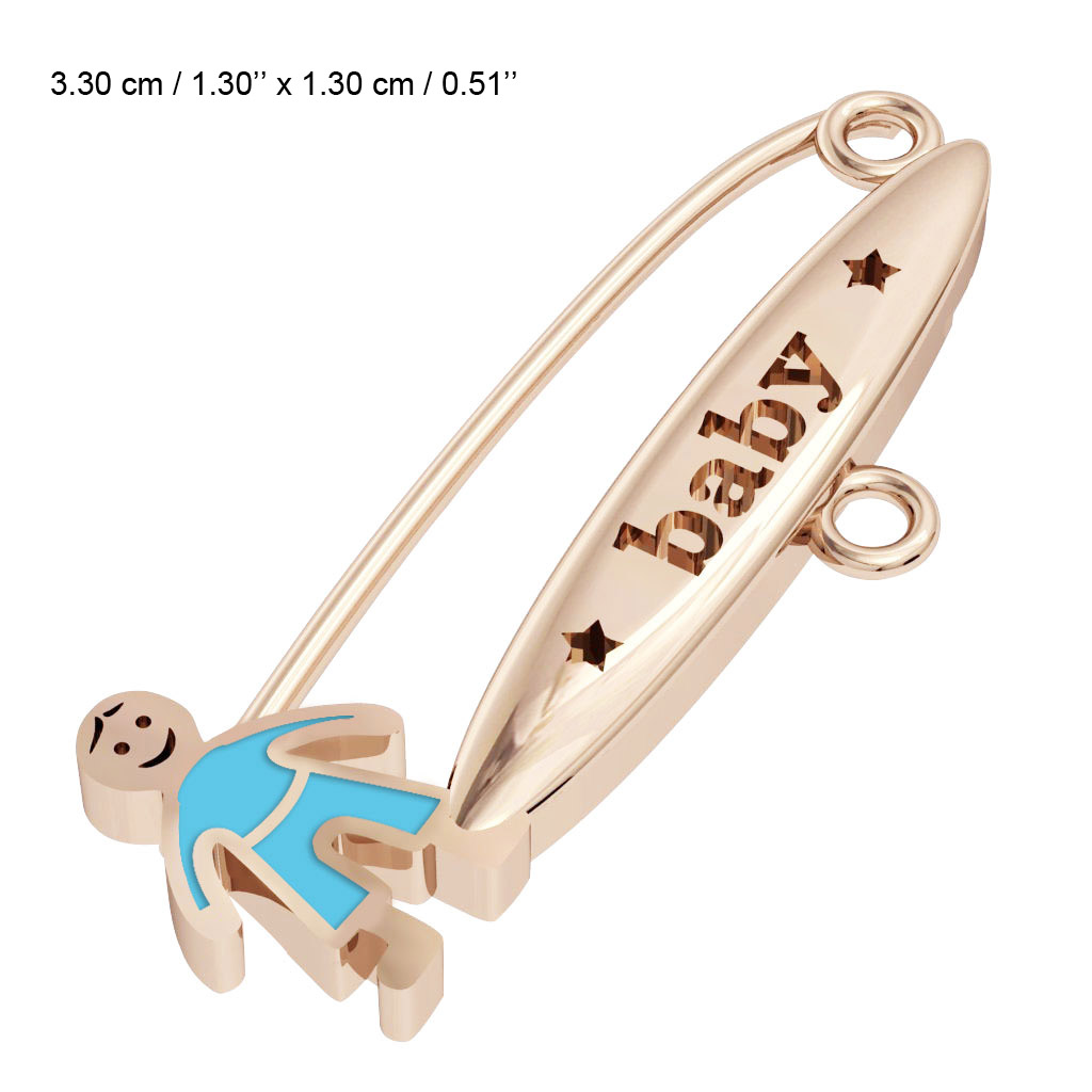 baby safety pin, boy – baby, made of 18k rose gold vermeil on 925 sterling silver with turquoise  enamel