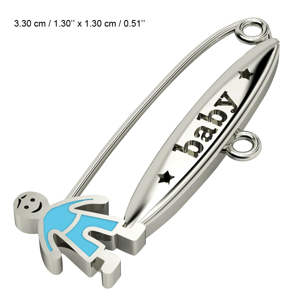 baby safety pin, boy – baby, made of 18k white gold vermeil on 925 sterling silver with turquoise enamel