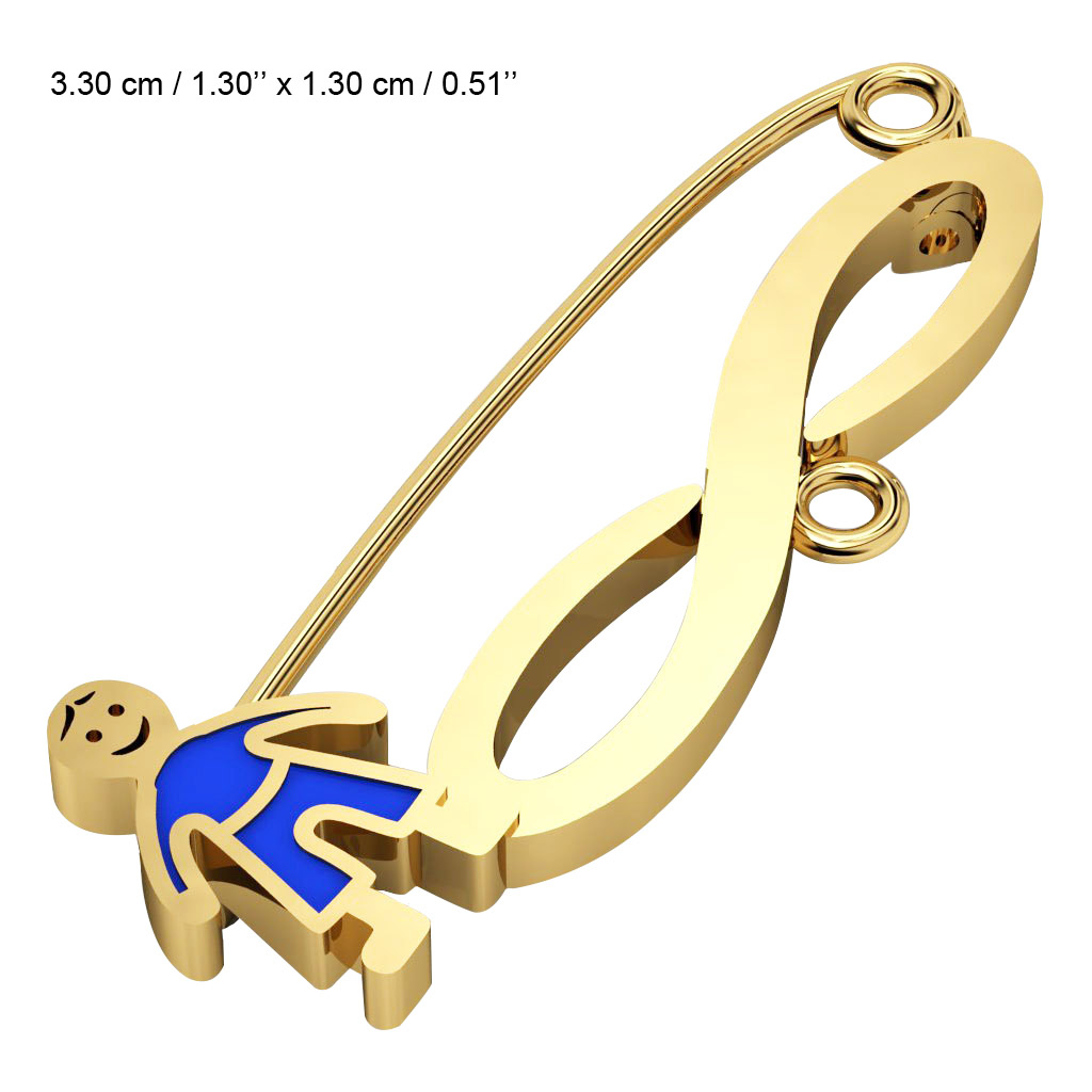 baby safety pin, boy – infinity, made of 18k gold vermeil on 925 sterling silver with blue enamel