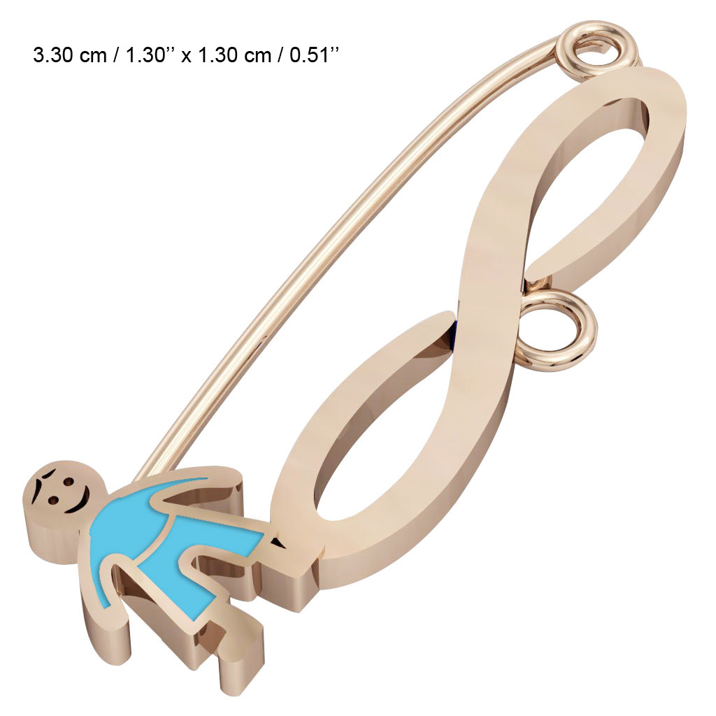 baby safety pin, boy – infinity, made of 18k rose gold vermeil on 925 sterling silver with turquoise  enamel
