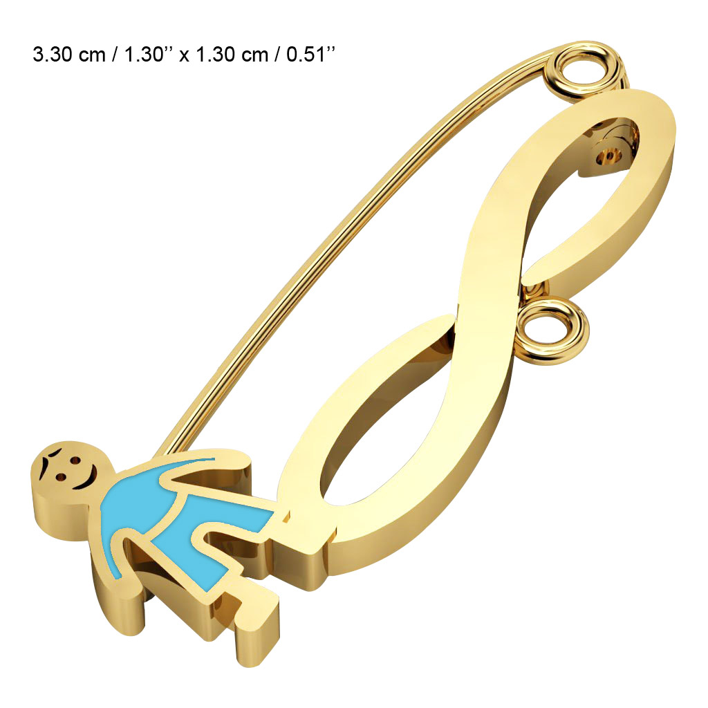 baby safety pin, boy – infinity, made of 18k gold vermeil on 925 sterling silver with turquoise  enamel