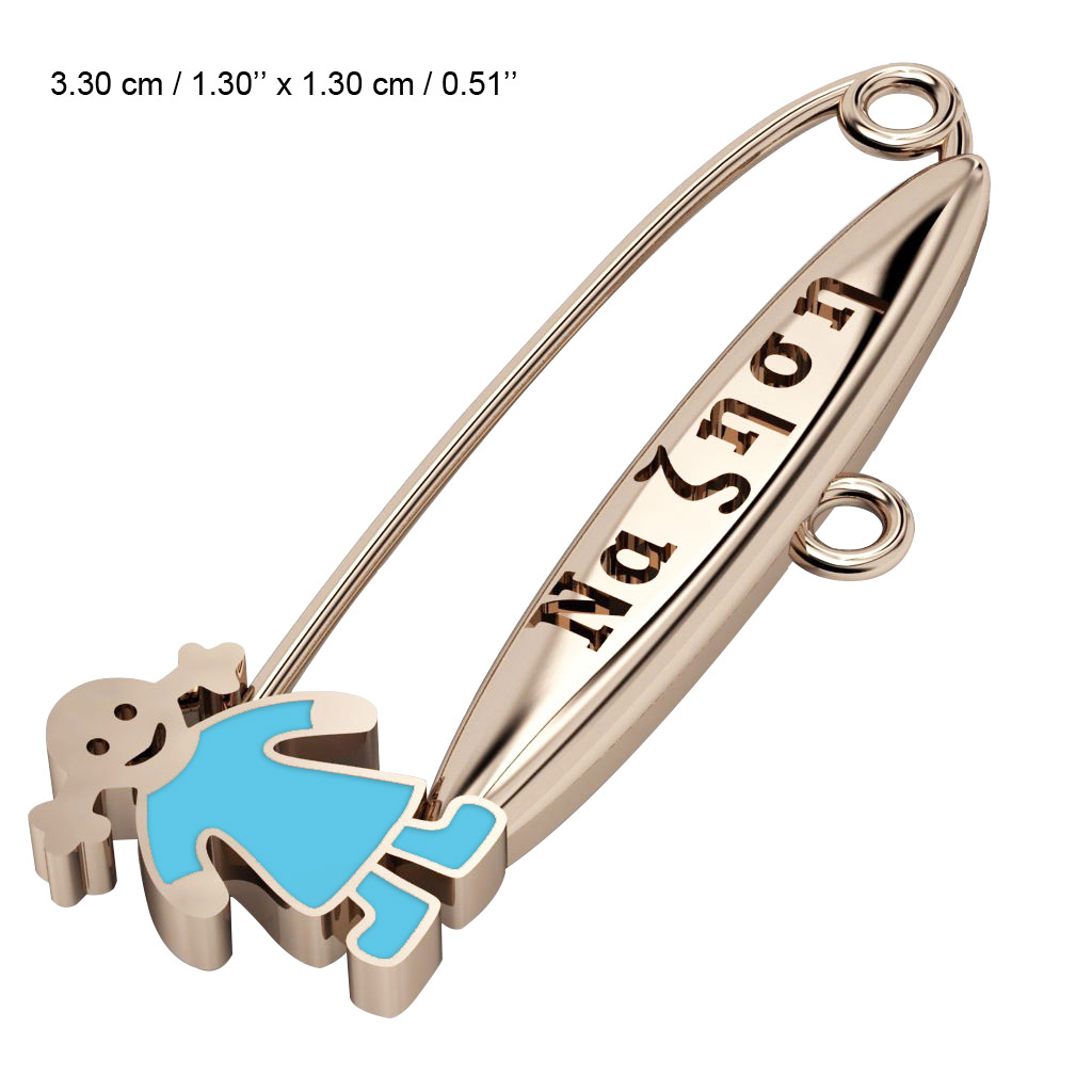 baby safety pin, girl – να ζηση made of 18k rose gold vermeil on 925 sterling silver with turquoise  enamel