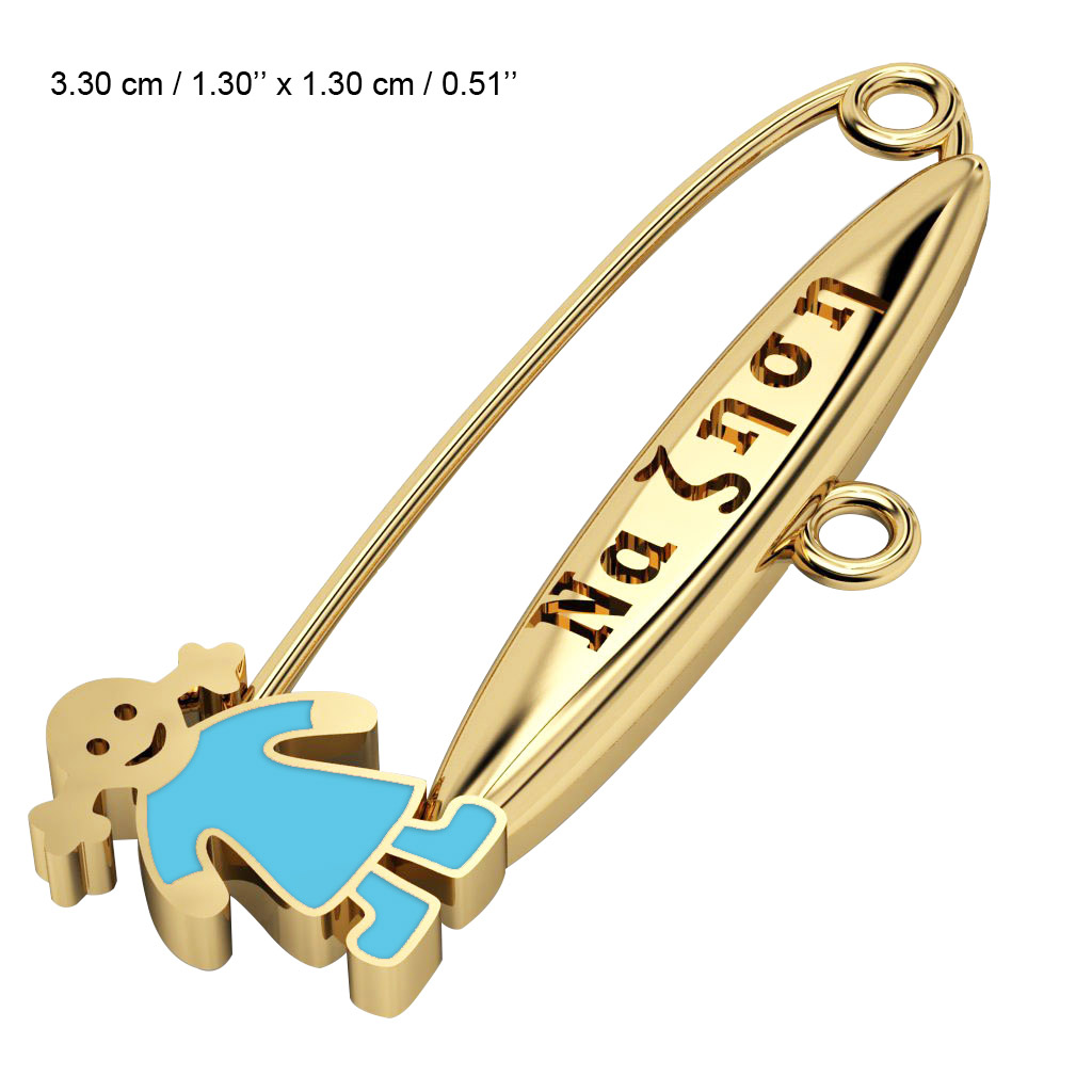 baby safety pin, girl – να ζηση made of 18k gold vermeil on 925 sterling silver with turquoise enamel