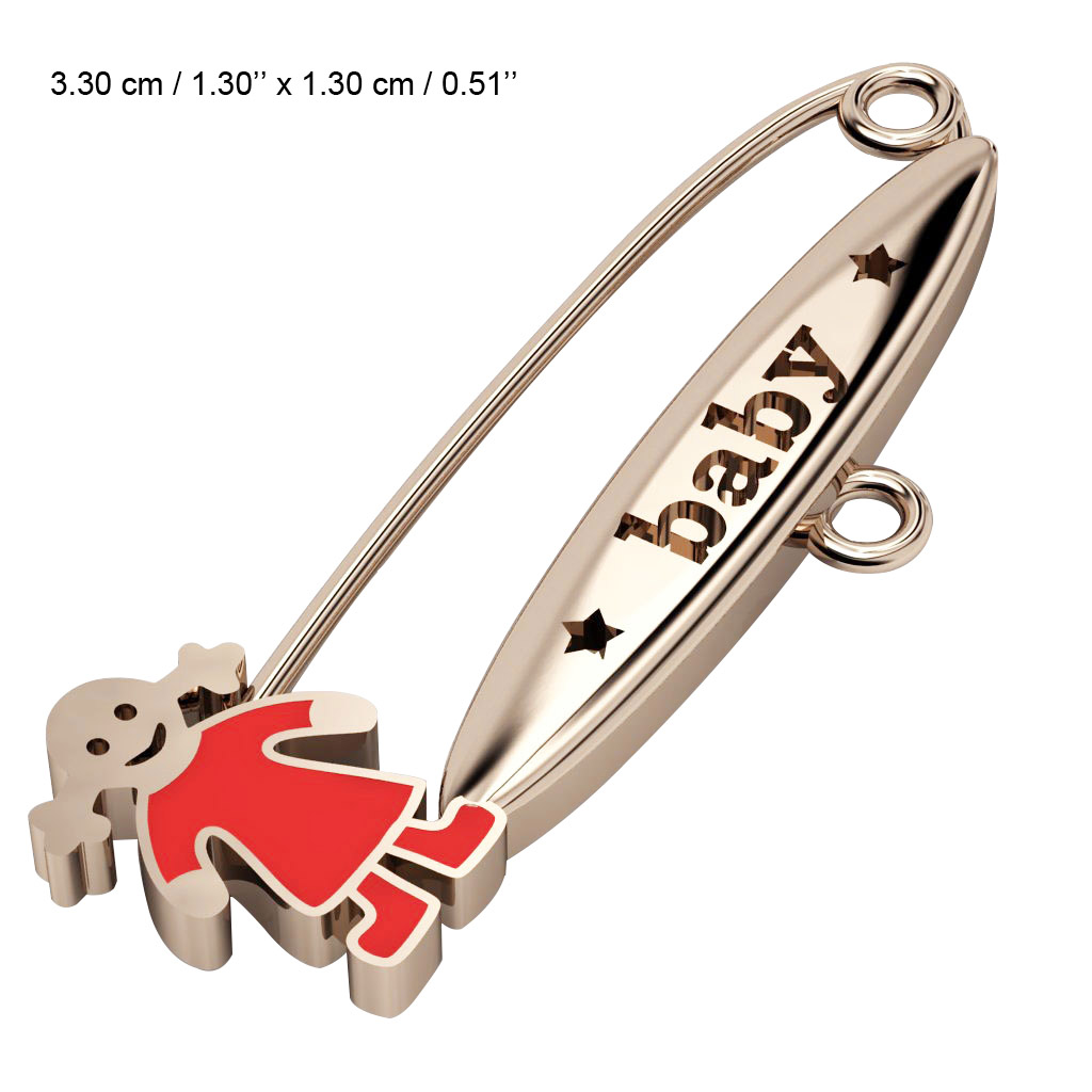 baby safety pin, girl – baby, made of 18k rose gold vermeil on 925 sterling silver with red enamel