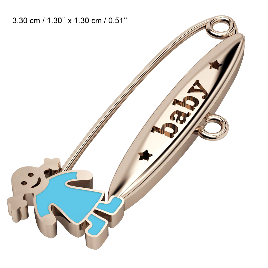 baby safety pin, girl – baby, made of 18k rose gold vermeil on 925 sterling silver with turquoise  enamel