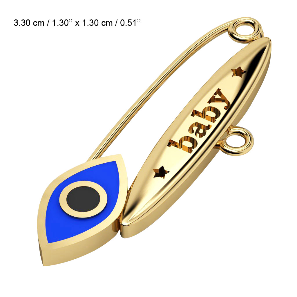 baby safety pin, navette eye – baby, made of 18k gold vermeil on 925 sterling silver with blue enamel