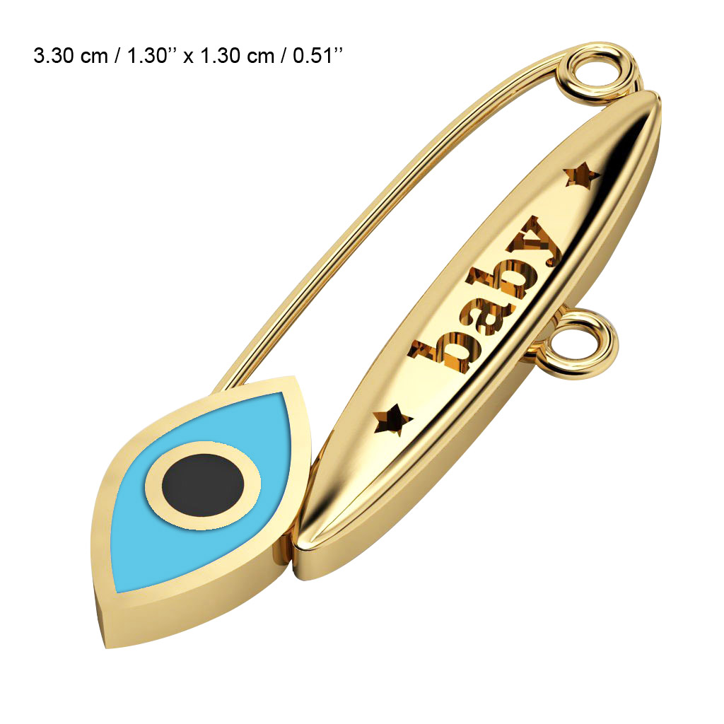 baby safety pin, navette eye – baby, made of 18k gold vermeil on 925 sterling silver with turquoise enamel