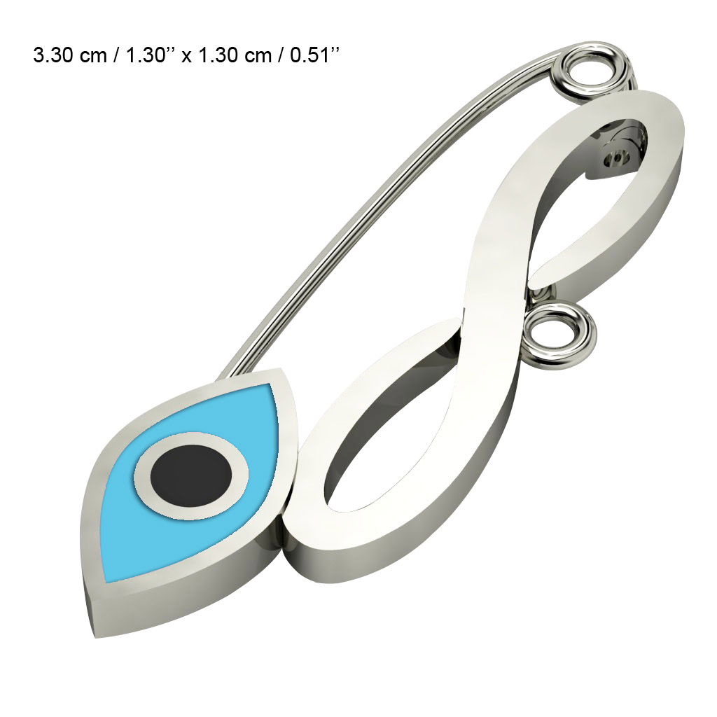 baby safety pin, navette eye – infinity, made of 18k white gold vermeil on 925 sterling silver with turquoise enamel