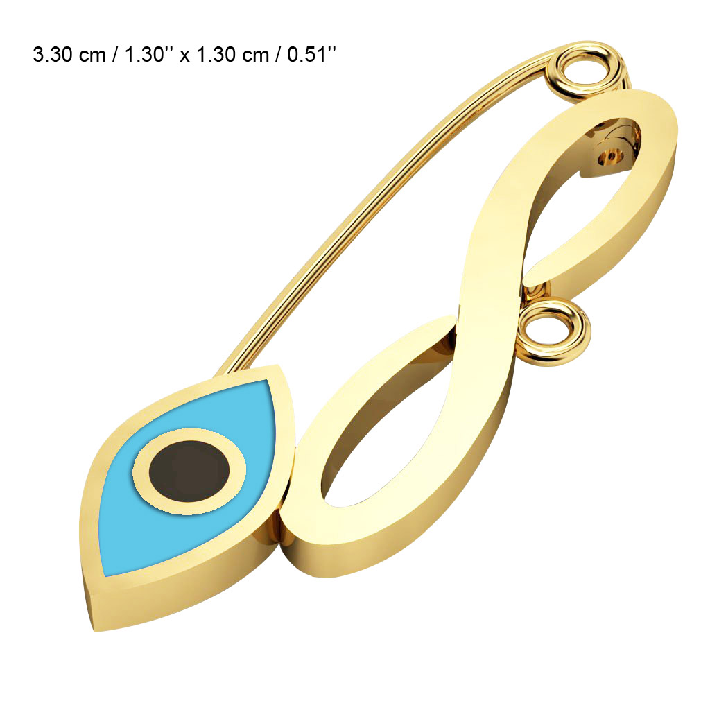 baby safety pin, navette eye – infinity, made of 18k gold vermeil on 925 sterling silver with turquoise enamel