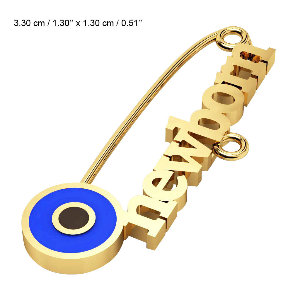 baby safety pin, round eye – newborn, made of 18k gold vermeil on 925 sterling silver with blue enamel